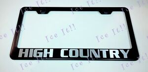 High Country Chevy Silverado Stainless Steel Black License Plate Frame Rust Free