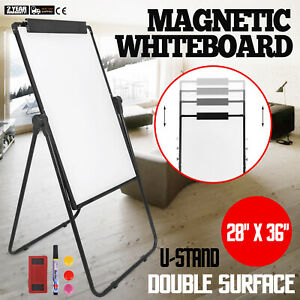 Double sided Magnetic Mobile Whiteboard 36 24 Aluminium Frame And Stand