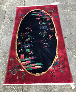 Antique Vintage Estate Nichols Chinese Art Deco Wool Area Rug 3 10 X 6 8