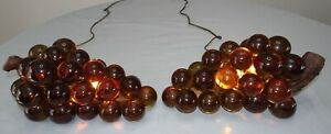Set 2 Lucite Acrylic Grapes Table Lamps Pair Lot Vtg Mcm