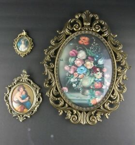 Vintage Scrolled Brass Italy Flowered Convex Ornate Picture Frames Oval Lot 3