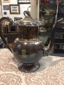 Vintage Antique Ornate Tall Silverplate Edinburg Derby Coffee Tea Pot Size 9 1 2