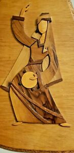 Extremely Rare Antique Vintage Handmade In Israel Layered Marquetry Wood Plaque