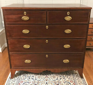 Antique 18th Century George Iii Mahogany Chest Of Drawers Shipping Available