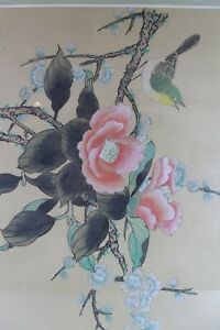 Vintage Japanese Hand Painted Bird Flowers Silk Painting Framed Si