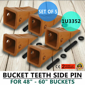 5 Pack 1u3352 Bucket Digging Teeth J350 Side Pin Cat Style Caterpillar Style