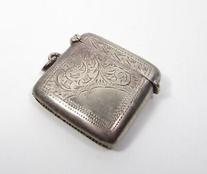 1800 S Antique Ornate Silver Plate Hand Engraved Vesta Match Safe Case Box