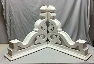 Pair Extra Large Antique White Roof Corbels Cornice Shabby Vtg Chic Old 53 19m