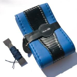 Stitch On Style Steering Wheel Skin Wrap Cover Blue Carbon Fiber Perfect Fit