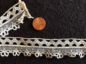 Unusual 19th C Point Ground Bobbin Lace Edging Study Piece