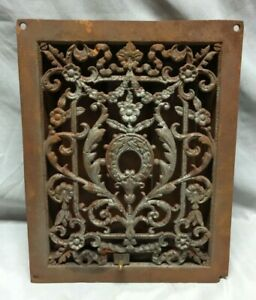 Antique Cast Iron Decorative Heat Grate Floor Register 9x12 Vintage 307 19c