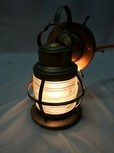 Antique Copper Nautical Wall Light Fixture Jelly Jar Shade Vintage 311 19c