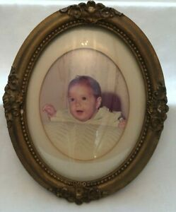 Vintage Gesso Gold Oval Wooden Frame With Convex Glass
