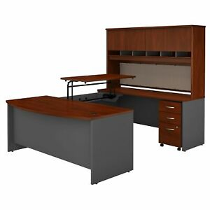3 Position Sit To Stand Bow Front U Shaped Desk With Hutch Mobile File Cabinet
