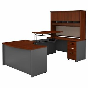 Right Hand 3 Position Sit Stand U Shaped Desk With Hutch Mobile File Cabinet