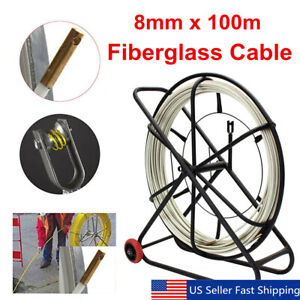 328ft 100m Fish Tape 8mm Fiberglass Wire Cable Running Rod Duct Rodder Puller Us