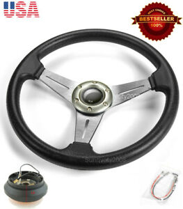 13 5 Gunmetal Brushed Spokes Steering Wheel Horn Button W Short Hub For Honda