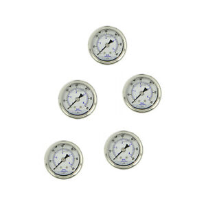 5 Pack Liquid Filled Pressure Gauge 0 60 Psi 1 5 Face 1 8 Npt Back Mount