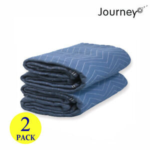 2pc Deluxe Moving Blankets 80 X 72 Pro Quilted Shipping Furniture Pads 45lb dz