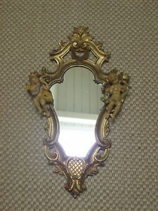 Gorgeous Italian Florentine Gilt Wall Mirror Cherubs 22 X 12 Marked Italy