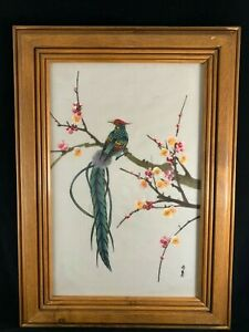 Chinese Vintage Framed Watercolor Painting On Silk Of Bird And Flowers