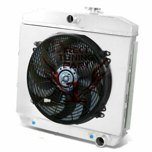 2 Core Performance Radiator 16 Fan shroud For 55 57 56 Chevy Bel Air Nomad V8