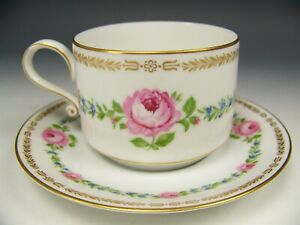 Bavaria Hand Painted Roses Forget Me Not Gold Gilt Tea Cup Saucer