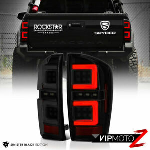 Black Smoke Tron Style Neon Led Tail Lights Brake Lamp For 16 21 Toyota Tacoma