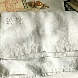 Antique Linen Sheet White Monogram Mn White French Bedding 19c Fabric Projects