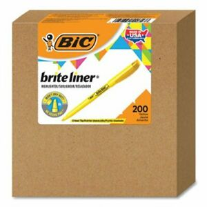Bic Brite Liner Highlighter Chisel Tip Yellow 200 carton bicbl200yw