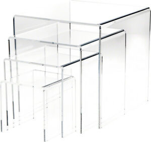 Plymor Clear Acrylic Square Risers Nesting Assortment 4 pack 1 4 Thick