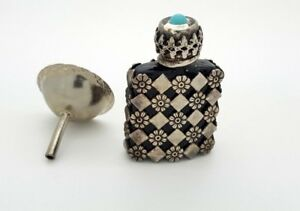 French Perfume Bottle W Turquoise Silver Tone Metal Design Brown Glass W Box