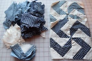 2 1900 Dutchman S Puzzle Shoo Fly Quilt Blocks Lots Of Pre Cut Triangles