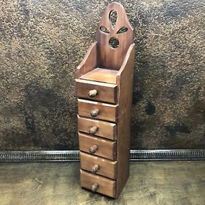 Vintage Primitive Wood Apothecary Spice 6 Drawer Wall Cabinet Carved Back
