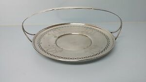 Antique Silverplate Bread Basket Handled Serving Dish Pierced Embossed