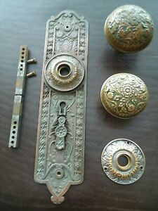 Norwalk 1886 Antique Victorian Bronze Door Knob Set Entry Size H 25600 Rare