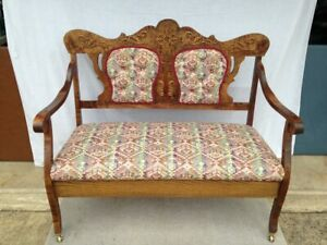 Antique Vintage Fruitwood Lovseat Settee Upholstered Bench