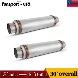 1 Pair 2 5 Inlet 3 5 Outlet 17 Long Universal Muffler Resonator Exhaust Tips