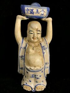 Chinese Antique Blue And White Porcelain Buddha Statue Figurine