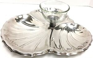 Vintage Silver Plate Vegetable Chip Dip Platter With Glass Bowl