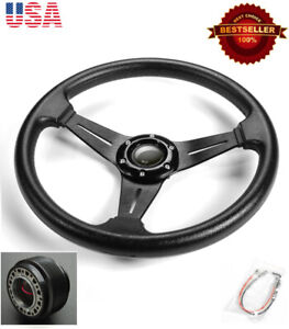 13 5 Black Brushed Spokes Steering Wheel Horn Button W Hub Fit Honda Acura