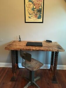 Vintage Industrial Workbench Desk Table