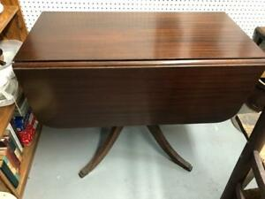Mahogany Drop Leaf Table With Brass Feet