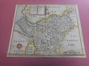 100 Original Cheshire Map By Saxton Hole C1610 Vgc Hand Coloured
