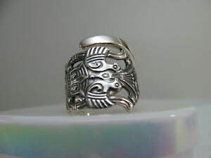 Norway Silver 830 Spoon Ring Diplomat S 6 5 Bird Jewelry 6308
