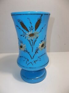 Antique French Blue Opaline Glass Enamel Painted Vase Flowers Daisies 8 75