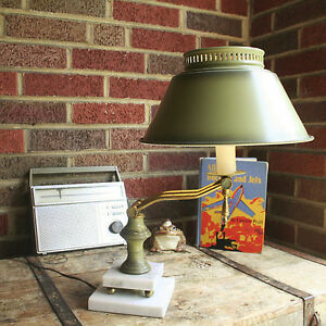 Vintage Candle Stick Toleware Tiered Marble Adjustable Table Lamp Desk Lamp