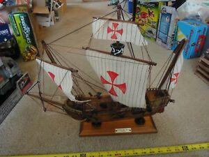 Vintage Carabela Sta Maria 1492 Handmade Wooden Ship Model 17 Long Nice