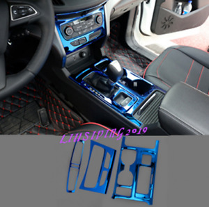 Blue Stainless Inner Gear Shift Panel Cover Trim For Ford Escape Kuga 2017 2018