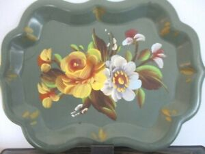 Vintage Hand Painted Yellow Powder Blue Roses Dresser Perfume Jewelry Tole Tray